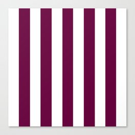 Tyrian purple - solid color - white vertical lines pattern Canvas Print