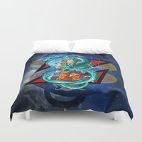 dbz Duvet Covers featuring DBZ - Goku Super Saiyan God by Mr. Stonebanks