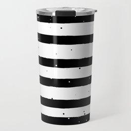 Black and White Stripe Travel Mug