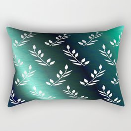 Botanical Pattern 1 in Midnight Celadon Teal Rectangular Pillow