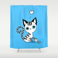 kitten Shower Curtains featuring Kitten by Freeminds