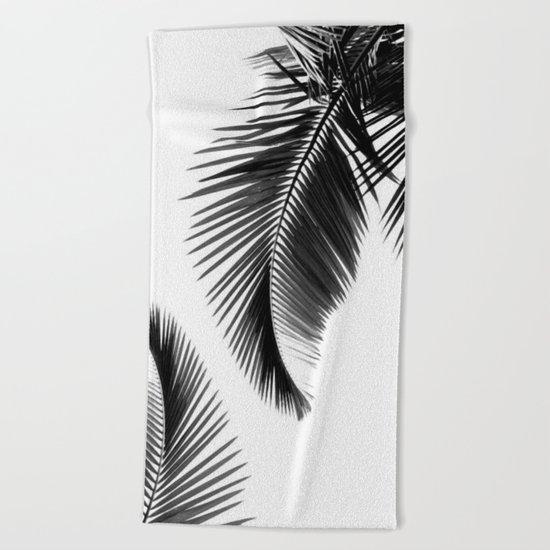 Black and white Leafs Beach Towel