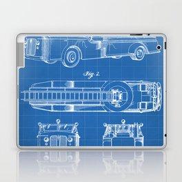 Fire Truck Patent - Aerial Fireman Truck Art - Blueprint Laptop & iPad Skin