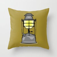 lantern Throw Pillows featuring Lantern by mailboxdisco