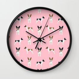 Rat Terrier dog breed decor gifts pure breed dogs pink Wall Clock