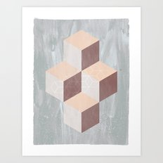 four cubes sixteen diamonds Art Print