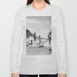 Vintage Hawaii Tandem Surfing Long Sleeve T-shirt