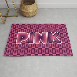 Pink square pattern 70's disco style Rug