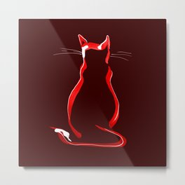 Sitting Cat from behind in Claret Metal Print