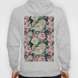 Country chic navy blue pink ivory watercolor floral Hoody