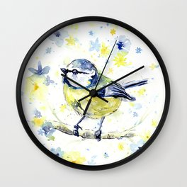Loose & Dreamy Bird With Florals Wall Clock