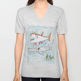 Megamouth Shark & Queensland Sawfish Unisex V-Neck