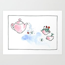 Travelling Postcard #3 - A cup of tea ? Art Print