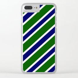 TEAM COLORS 1.....dk. green, navy  and white Clear iPhone Case