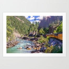 Durango Silverton Colorado Train Along the Animas River Art Print