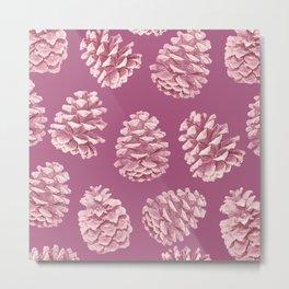 Blushing Deep Pine Cones Metal Print