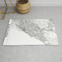 Barcelona White Map Rug