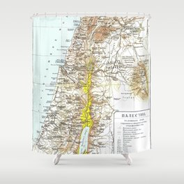 Russian Map of Palestine 1900 Shower Curtain