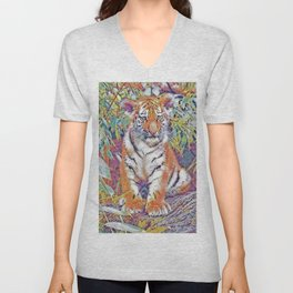 Tiger Cub Pop Art | Oil Painting Unisex V-Neck