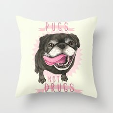 Black Pug dog - Pugs Not Drugs Throw Pillow