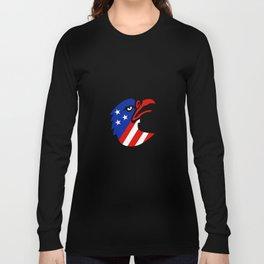 American Flag Inside Eagle Mascot Long Sleeve T-shirt