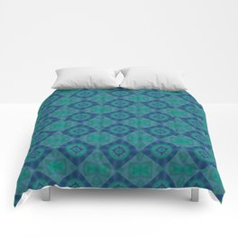 Jade and Blue Repeating Aurora Pattern Comforters