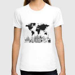 world map city skyline 4 T-shirt