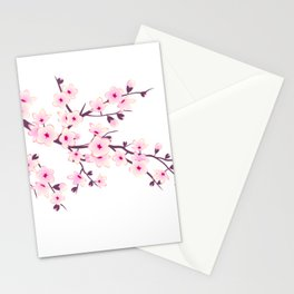 Cherry Blossom Pink White Stationery Cards