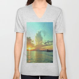 Sunset on Lake Constance Unisex V-Neck
