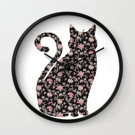 Floral Pro-Choice Cat Wall Clock