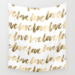 Gold Love Quote Pattern Typography Script 2 Wall Tapestry
