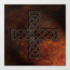 Celtic Knotwork Cross Rust Texture No 1 Canvas Print