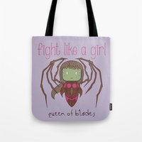 starcraft Tote Bags featuring Fight Like a Girl - Starcraft's Infested Kerrigan by ~ isa ~