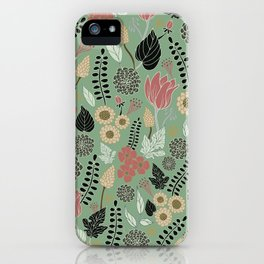 Pink & Green Floral Pattern iPhone Case
