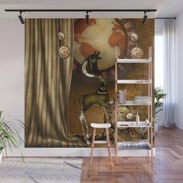 Cute steampunk giraffe with clocks and gears Wall Mural