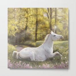 Unicorn In A Field Metal Print