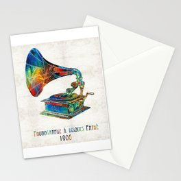Colorful Phonograph Art by Sharon Cummings Stationery Cards