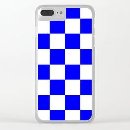 Large Checkered - White and Blue Clear iPhone Case