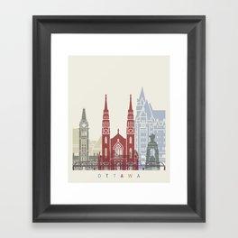 Ottawa skyline poster Framed Art Print