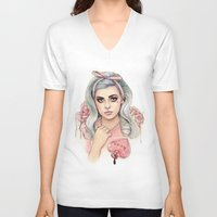 marina and the diamonds V-neck T-shirts featuring L.O.V.E   E.V.O.L by Helen Green