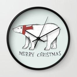 Christmas Polar Bear Wall Clock
