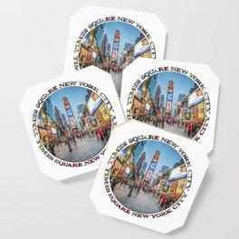 Times Square Sparkle (badge on white) Coaster