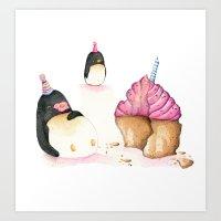 cupcake Art Prints featuring Cupcake by Rebecca Cox