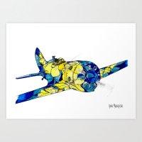 airplane Art Prints featuring Airplane by Irina  Mushkar'ova