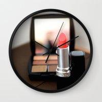 lipstick Wall Clocks featuring Lipstick by Tanya Thomas