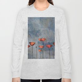Poppyfield against the blue sky - abstract watercolor artwork Long Sleeve T-shirt