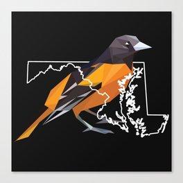 Maryland – Baltimore Oriole (Black) Canvas Print