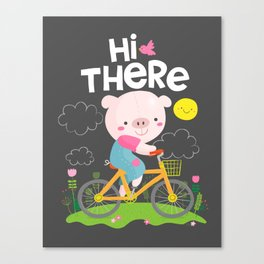 Pig on a bike Canvas Print