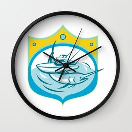 Blue Marlin Charter Fishing Boat Retro Wall Clock