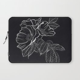 Chalked Roses - Black and White Modern Florals Laptop Sleeve